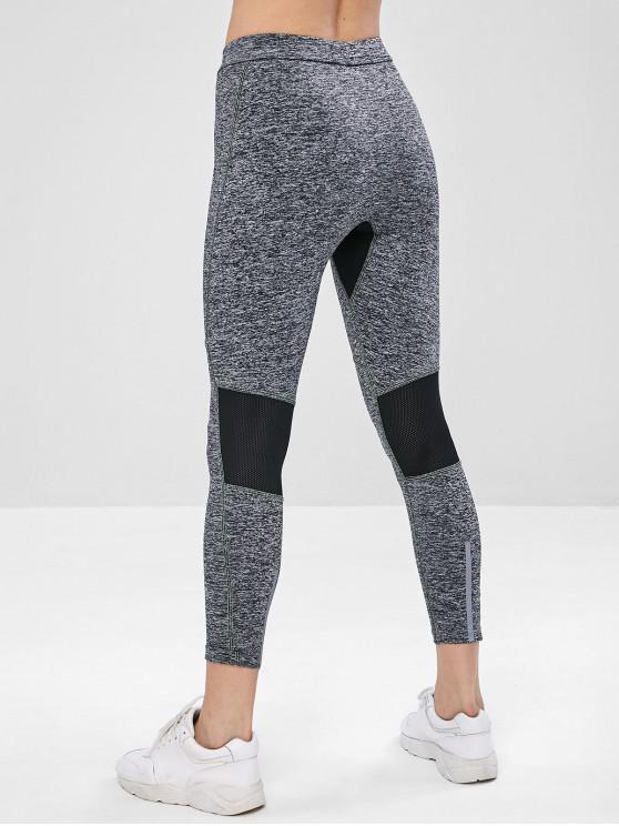 fashion Perforated Space Dye Yoga Gym Leggings - GRAY L