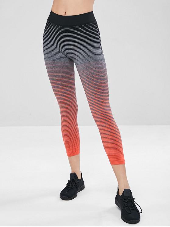 sale Elastic Striped Capri Gym Leggings - ORANGE L