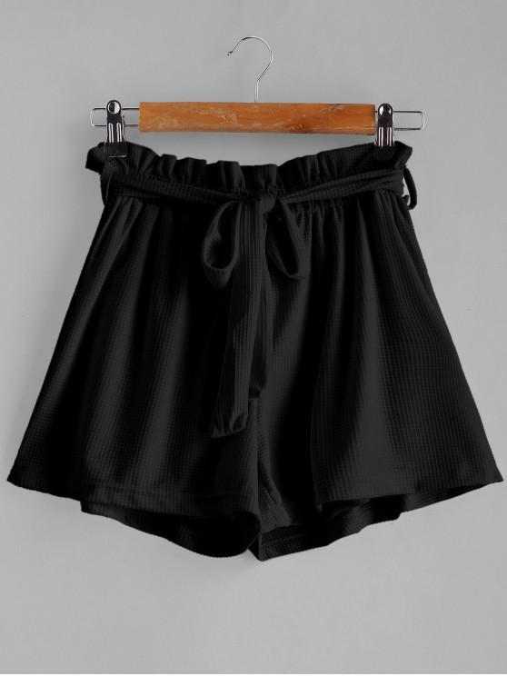 women Tie Belt High Waisted Shorts - BLACK M