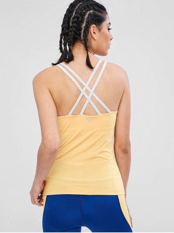 outfits Sports Tank Top With Padded Mesh Shelf Bra - YELLOW XL