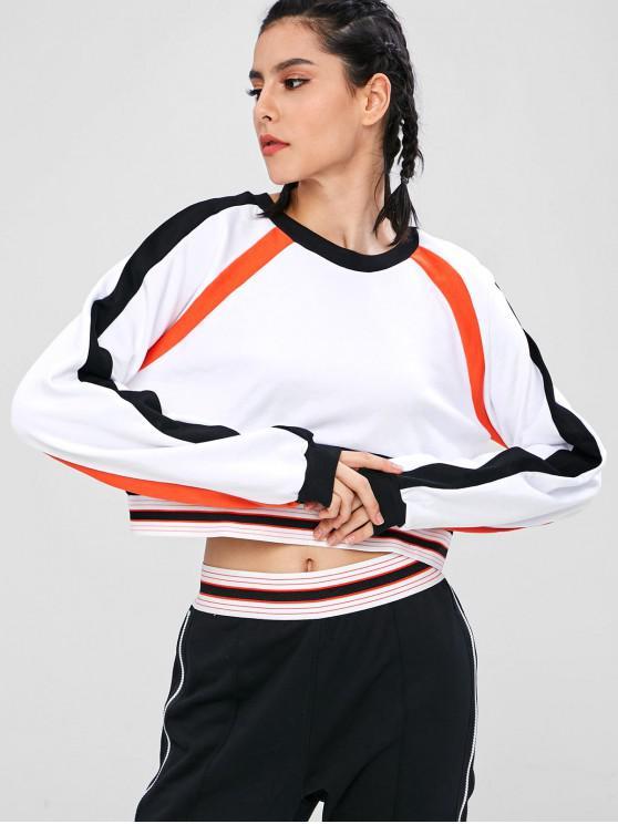 sale Crop Color Block Sport Sweatshirt - WHITE L