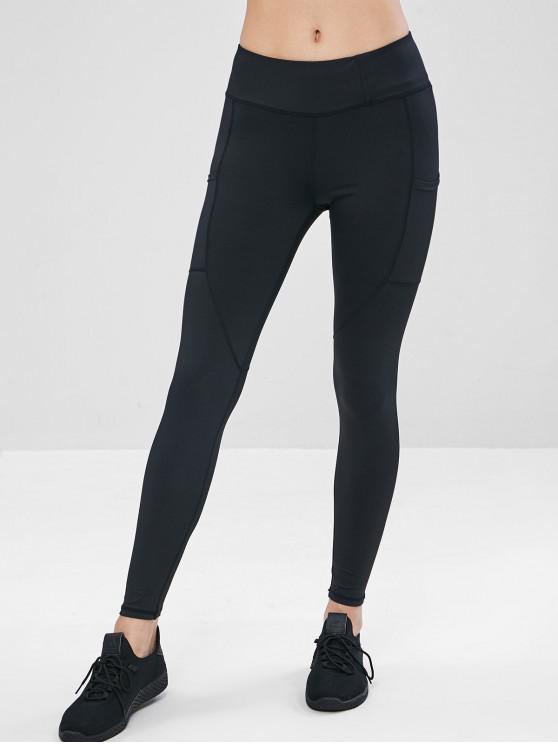 best sell latest fashion shop for best Elastic Side Pocket Gym Leggings BLACK