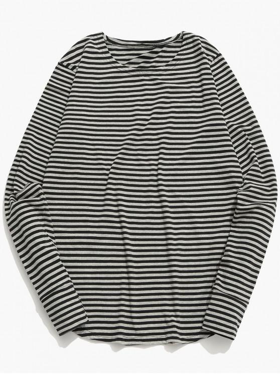 fancy Long Sleeves Striped T Shirt - GRAY CLOUD XL