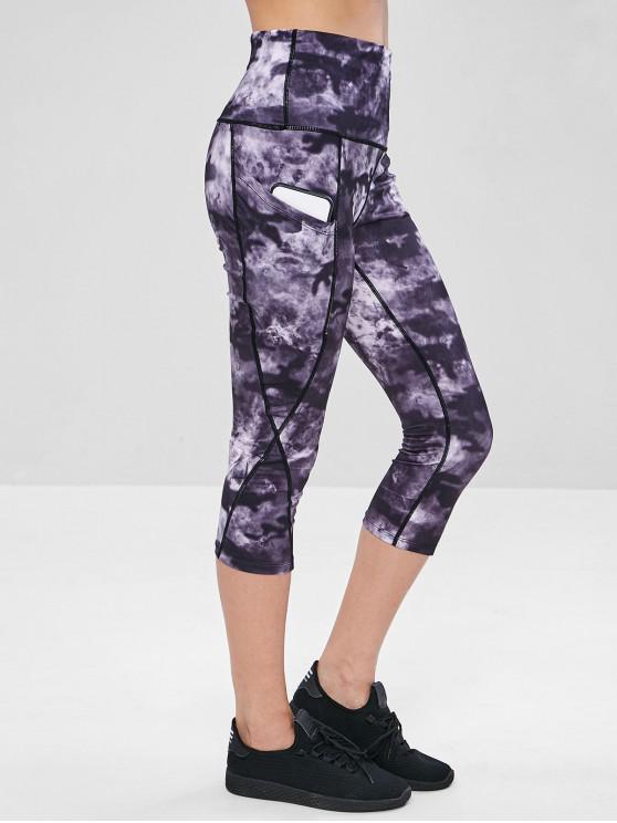 best Wide Waistband Tie Dye Capri Yoga Leggings - MULTI L