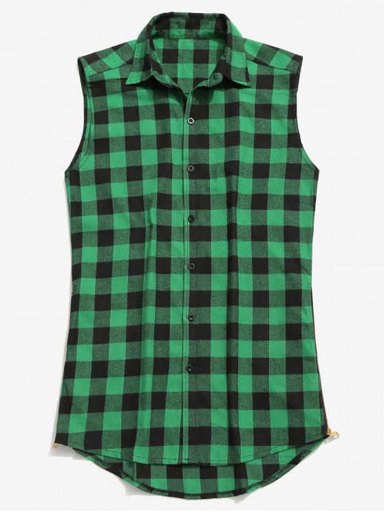 Camicia A Quadretti Senza Maniche Con Cerniera Laterale - Verde XL