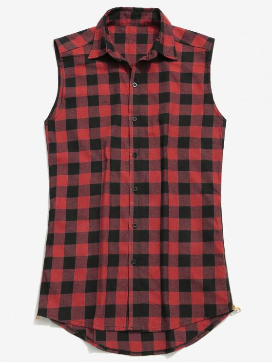 womens Side Zip Sleeveless Tartan Shirt - RED 2XL
