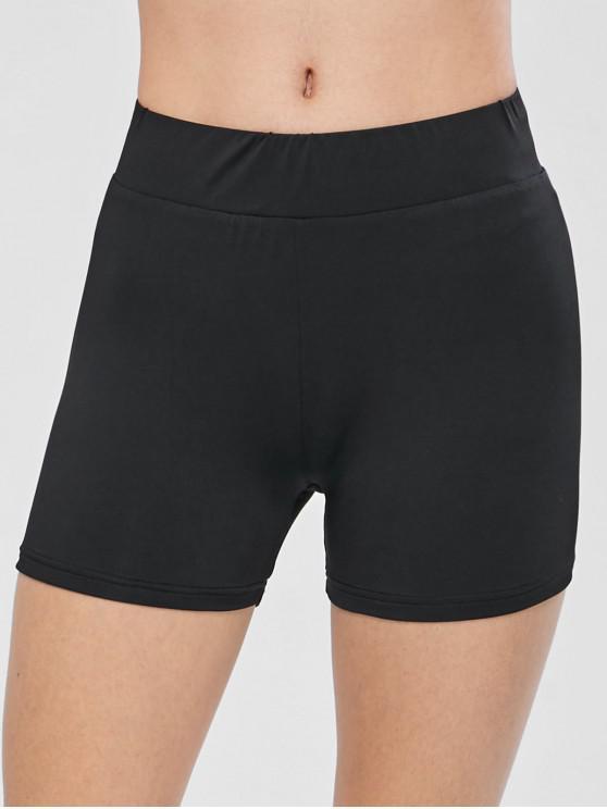 trendy ZAFUL Skinny Biker Gym Shorts - BLACK S