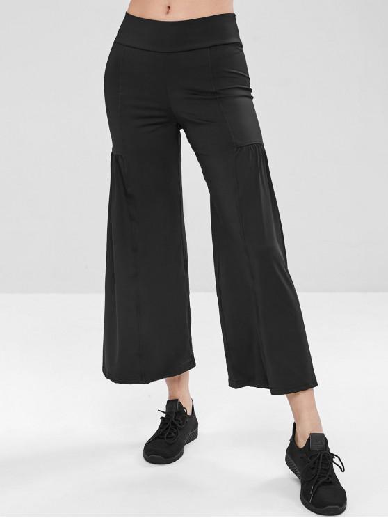 Calças de ioga de perna larga de cintura alta - Preto M
