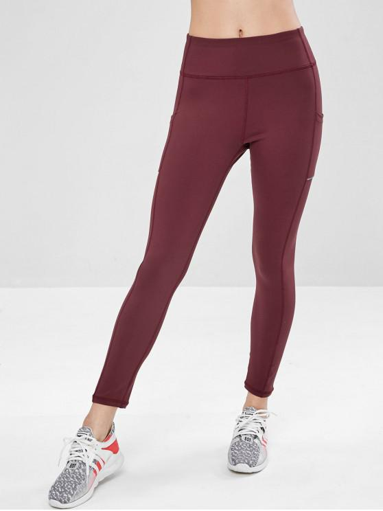 chic Side Pocket Wide Waistband Gym Leggings - RED WINE L