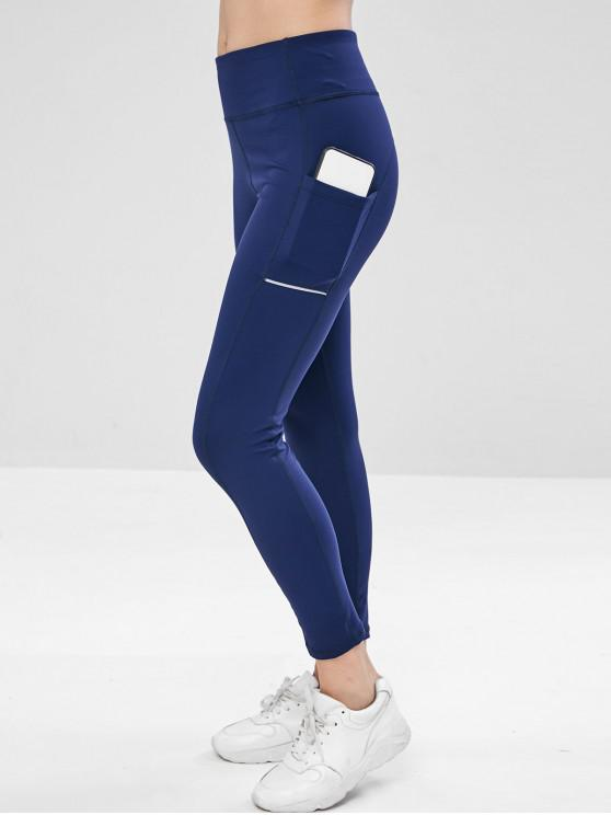 fancy Side Pocket Wide Waistband Gym Leggings - CADETBLUE S