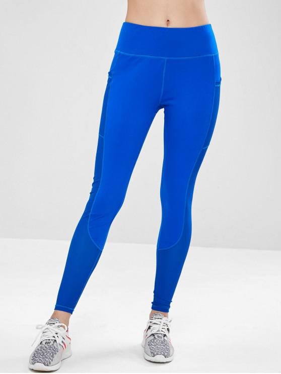 chic ZAFUL Workout Perforated Pocket Gym Leggings - BLUE M