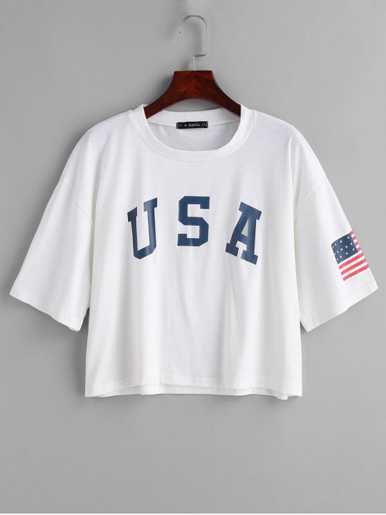 fashion ZAFUL American Flag Graphic Tee - WHITE L