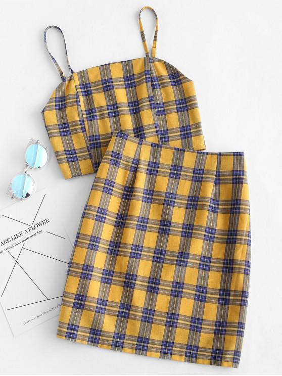 trendy Smocked Back Cami Plaid Skirt Set - YELLOW L