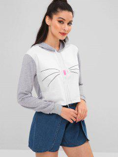 Cat Whisker Heart Graphic Cropped Hoodie - Light Gray M