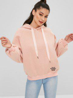 Fleece Letter Embroidered Oversized Hoodie - Pink