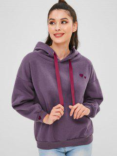 Hearts Embroidered Fleece Hoodie - Viola Purple