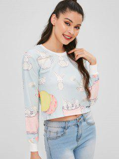 Bunny Graphic Cropped Pullover Sweatshirt - Pale Blue Lily L