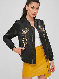 Floral Birds Embroidered Souvenir Jacket - Black L