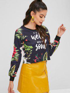 Floral Printed Cropped Sweatshirt - Black L