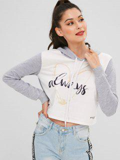 Heart Graphic Cropped Hoodie - Light Gray M