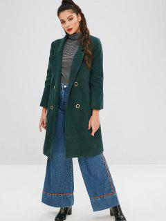 Grommets Back Slit Coat - Sea Turtle Green L