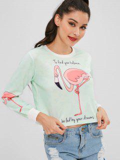 Sweat Court à Imprimé Graphique Flamingo - Bleu Lys Pâle M