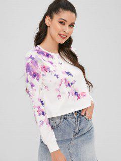 Cropped Floral Print Sweatshirt - White L
