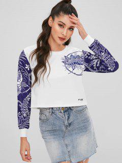 Two Tone Floral Print Cropped Sweatshirt - White L