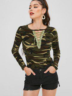 Lace Up Long Sleeves Camouflage Tee - Acu Camouflage M