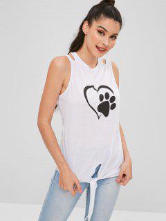 Camiseta Sin Mangas Con Estampado De Pata De Corazón Con Dobladillo - Blanco L