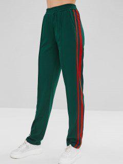 Side Striped Elastic Waist Pants - Deep Green S