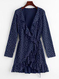Star Ruffle Wrap Mini Dress - Midnight Blue M