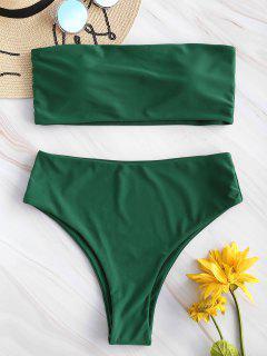 ZAFUL High Waisted Bandeau Bikini Set - Mittleres Meer Grün S