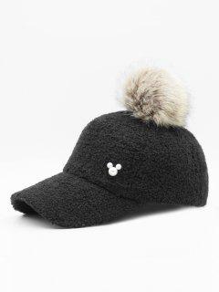Stylish  Faux Pearl Fuzzy Ball Baseball Cap - Black