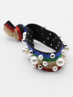 Faux Pearl Color Block Elastic Hairband - Multicolor-c