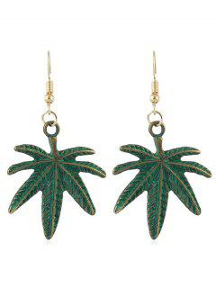 Alloy Leaves Shape Hook Earrings - Green