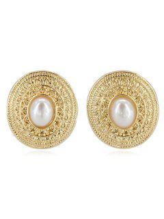 Pendientes De Aleación Con Incrustaciones De Perlas De Imitación - Oro