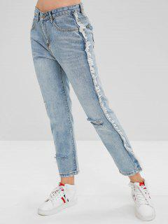 Frayed Trim Ripped Jeans - Light Blue M