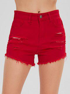 Ripped Cuff Off Shorts - Red L