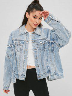 Ripped Asymmetrical Denim Jacket - Denim Blue