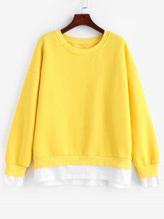 Side Slit Faux Twinset Sweatshirt - Yellow M