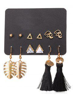 Leaf Shape Tassel Stud 6Pcs Earring Set - Gold