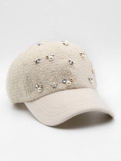 Faux Pearl Star Rivet Baseball Hat - Warm White