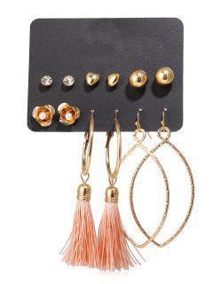 Rhinestone Floral Tassel Hoop Earrings Set - Oro