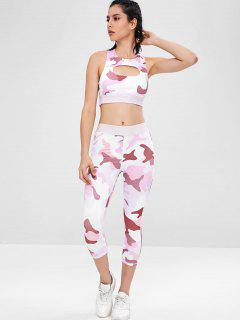 Camo Racerback Gym Bra And Leggings Suit - Multi M