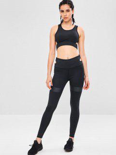 Schneiden Sie Yoga Gym BH Und Leggings Set - Schwarz L
