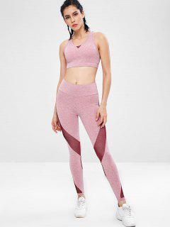 Space Dye Racerback Gym Bra And Leggings Suit - Pink M