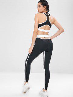 Yoga Racerback Gym Bra And Leggings Suit - Black M