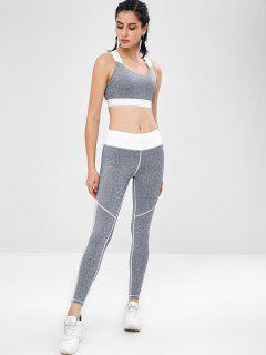 Fishnet Insert Cross Gym Bra And Leggings Set - Gray L