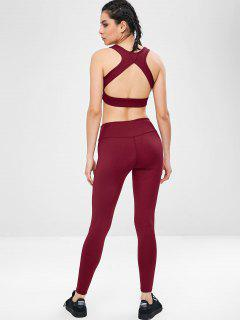 Padded Yoga Gym Bra And Leggings Set - Red Wine L